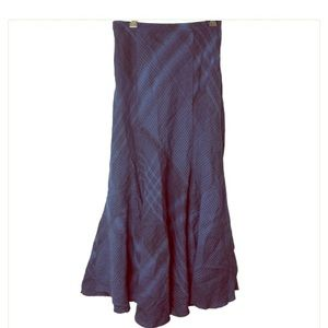 J Jill Blue Plaid Linen Maxi Circle Skirt
